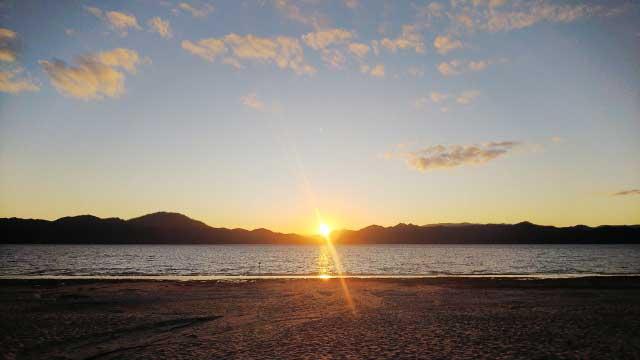 田沢湖の夕日