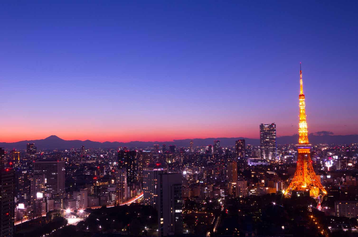 夕暮れの東京タワーと富士山