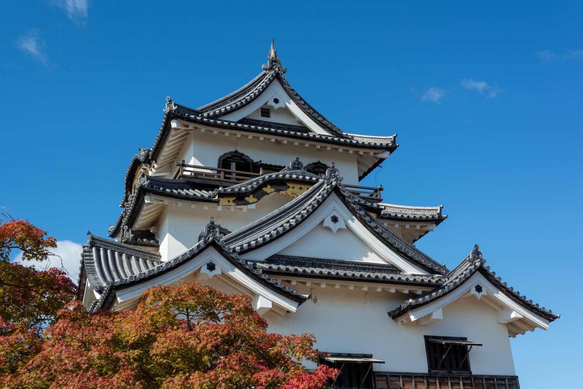 秋色に色付く彦根城