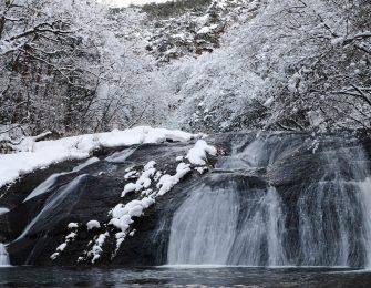 雪化粧をした釜淵の滝