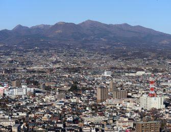 市街地から望む赤城山