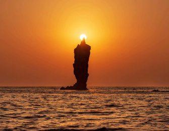 太陽の日が灯るローソク島